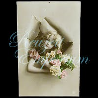 Antique Girl with Roses Postcard