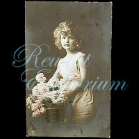 Antique 1914 Girl with Basket of Roses Postcard