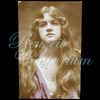 Antique Girl with long hair Postcard