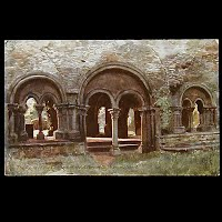 Antique Tuck Postcard, Oilette Cloisters Abbey St. Bavon Ghent