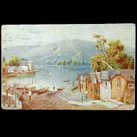 Antique Tuck Postcard, Oilette Cushion Huts Bowness English Lakes