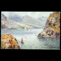 Antique Tuck Postcard, Oilette Loch Long Carrick Castle from Whistlefield