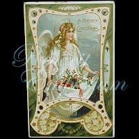 Antique Tuck 1909 A Merry Christmas Postcard with angel
