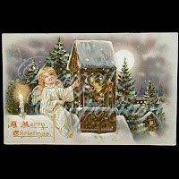 Antique Tuck 1908 A Merry Christmas Postcard, embossed with angel