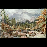 Antique Tuck Postcard, Oilette Picturesque North Wales Beddgelert Pass of Aberglaslyn