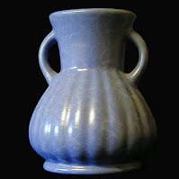 Antique Red Wing Pottery Rumrill Blue Vase
