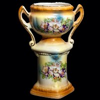 Antique Pottery Vase Hand Painted Chechoslovakia Vase