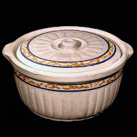 Antique Redwing Gray Line Sponge Band Stoneware Casserole with correct lid