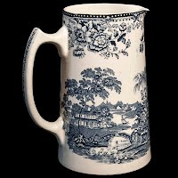 Antique Royal Staffordshird by Clarice Cliff blue and white Pitcher