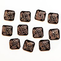 Antique Black Carved Buttons with gold