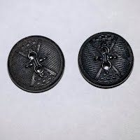 Antique Round Black Wood Carved Buttons (2)