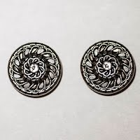 Antique Round Silver Metal Filigree Buttons (2