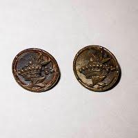 Antique Round Metal Flower Buttons (2