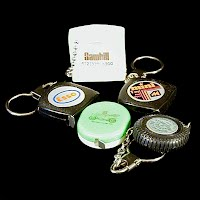 5 Vintage Mini Tape Measures Key Chains, 1970's Advertizing