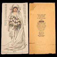 Antique Ephemera J and P Coats and Clark 1916 Bride Wedding Trade Card