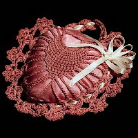 Vintage Heart Crocheted Pincushion with Satin ribbon
