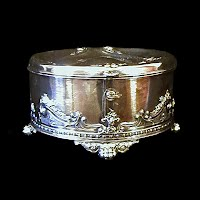 Antique Silver Jewelry Casket with Key, 1880s Simpson Hallmiller Co