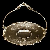 Antique Silver Cake Basket with engraved flowers, 1850-1899 Homan Co