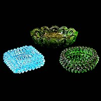 Three Antique Vintage Glass Ashtrays, hobnail, moon and stars