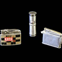 Three Antique Vintage Cigerette Lighters, Life Magazine, Rosen-Nesor, Lored Chesterfield