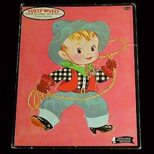 Vintage Fuzzy Wuzzy Cowboy Puzzle, 1964