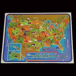 Vintage USA States Puzzle, A Picture Map of the United States, Western Publishing, 1968