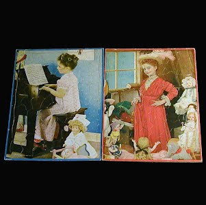 2 Vintage 1950s Childs tray Walzer Company Puzzles, Dress up and Christian Solders