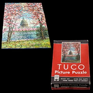Antique 1940s TuCo Work Shop Puzzle, Capitol in Blossom Time