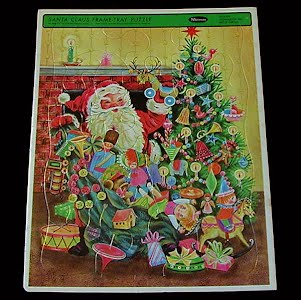 Vintage 1966 Childs Tray Whitman Western Publishing Puzzle, Santa Claus and Presents