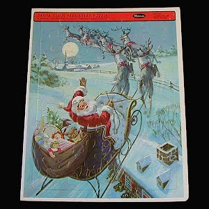 Vintage 1966 Childs Tray Whitman Western Publishing Puzzle, Santa in Sleigh Puzzle