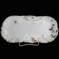 Antique vintage milk glass dresser vanity tray