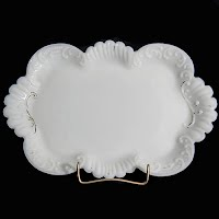 Antique vintage milk glass dresser vanity tray