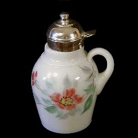 Antique EAPG Milk Glass Syrup Pitcher, 1900's