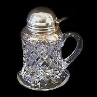 Antique EAPG Clear Diamond Splendor Syrup Pitcher, 1898