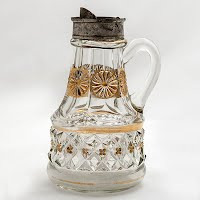 Antique EAPG Petticoat Pattern Glass Syrup Pitcher, Riverside Glass Company