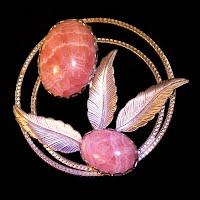 Vintage Handcrafted Metal Pink Quartz Stone Pin