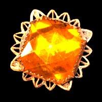 Antique Amber metal Filigree Pin