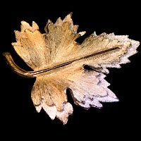 Vintage Gold and Silver Metal Leaf Pin