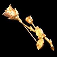 Vintage Metal Gold Rose Pin