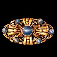 Antique metal Filigree Blue Pin