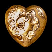 Vintage metalLady Heart Pin