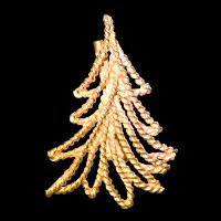 Vintage Gold Rope Christmas Tree Pin