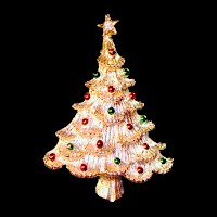 Vintage Gold Christmas Tree Pin