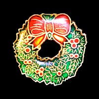 Vintage Enamel Christmas Wreath Pin