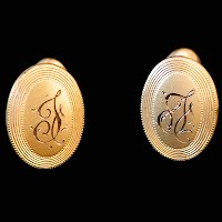 Antique Initial F Gold Cuff Links