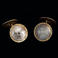 Antique Silver and Gold Talon Grip Cuff Links, HWK Co