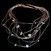 Vintage Silver and Turquoise Waterfall Necklace