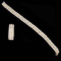 Vintage Rhinestone Choker Necklace and Expansion Bracelet
