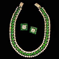 Vintage Emerald and Clear Rhinestone Necklace and Earrings
