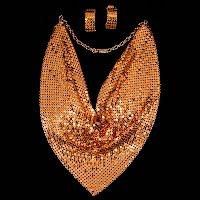 Vintage Metal Mesh Necklace and Earrings